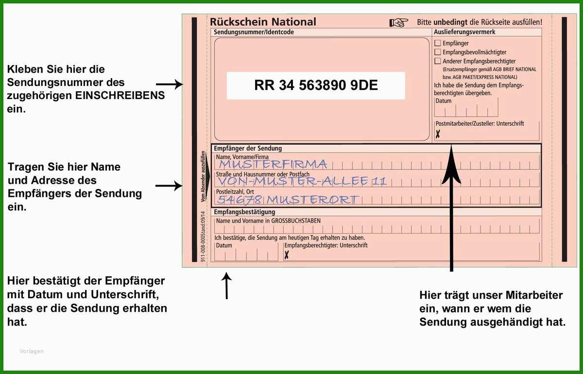 Einschreiben Rückschein Postfach