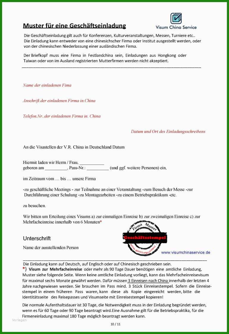 Einladung Nach Deutschland Muster - Kostenlose Vorlagen