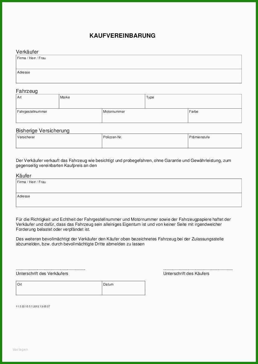 Kaufvertrag Quad Vorlage - Kostenlose Vorlagen zum ...