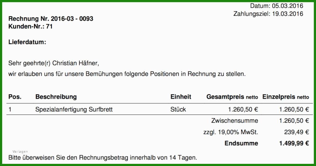 Rechnung Muster Mwst - Kostenlose Vorlagen zum Download ...