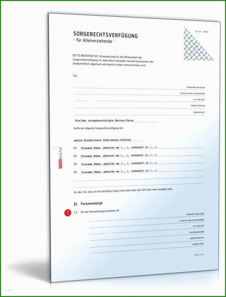 Sorgerecht Vollmacht Muster - Kostenlose Vorlagen zum