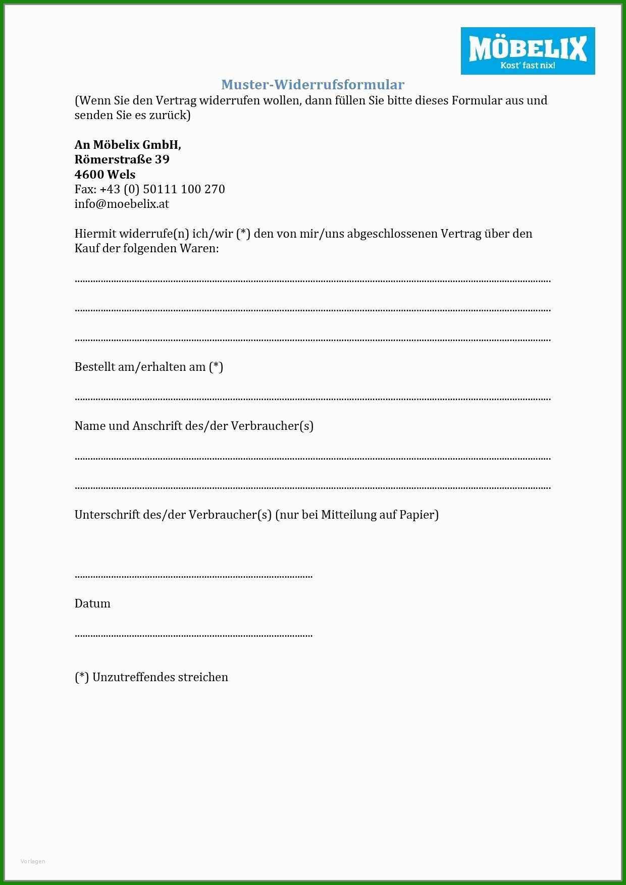 Widerruf Vom Kaufvertrag Muster - Kostenlose Vorlagen zum