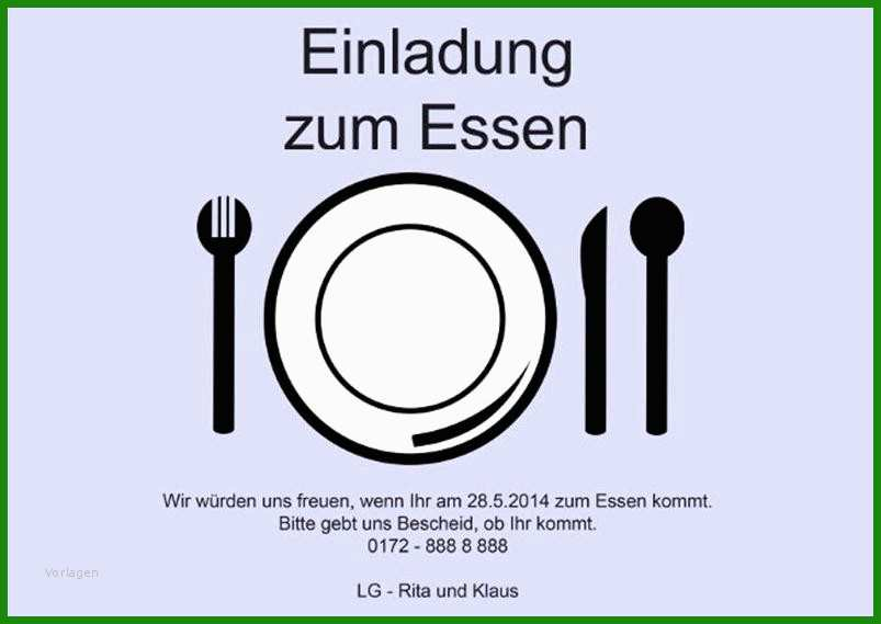 Word Vorlage Einladung Zum Essen - Kostenlose Vorlagen zum